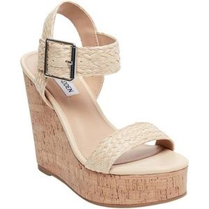 Steve Madden Splash Platform Wedge Sandals Tan Bei